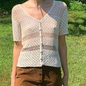 Vintage Ivory Crochet Button Blouse Boho Hippie